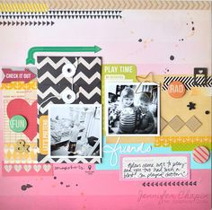 Layout made with the #epiphanycrafts Shape Studio Tool Round 25 and Square Tool both available at #MichaelsStores www.epiphanycrafts.com #scrapbook #layout #basicgrey