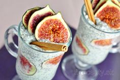 Easy, quick and nutritionally valuable recipe that fits perfectly for breakfast. Make use of the fig season and prepare this healthy fig chia seed pudding with coconut. Chia Pudding, Stevia, Fig Season, Healthy Fats, Healthy Recipes, Coconut Slice, Chia Seeds, Granola, Puddings