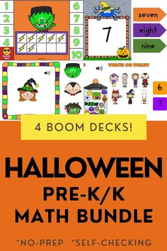 Bundle of 4 interactive games. Use these task cards as a fun center to improve math skills in preschool and kindergarten. This digital resource is compatible with google classroom and seesaw and perfect for distance or homeschooling. #digital #boom #task cards #math #count #number #pre-k #preschool #kindergarten #halloween #october #witch #frankenstein Interactive Learning, Educational Activities, Learning Activities, Activities For Kids, Circle Time Games, Halloween Math, Seesaw, Preschool Kindergarten, Math Skills