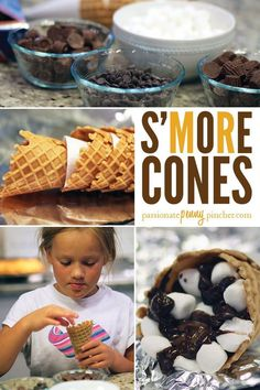 This creative and fun way to make an easy dessert with the kids at home!  This S'more Cones dessert recipe is a must-try! Smoothie Recipes, Snack Recipes, Dessert Recipes, Snacks, Easy Recipes, Beef Recipes, Vegetarian Recipes, Easy Desserts, Delicious Desserts
