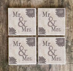 Drink Coasters, Mr. and Mrs. Handmade Design, Ceramic Tiles, Wedding Gift, Married, Housewarming Gift, Wedding Reception, Bride and Groom $5.00 #mrandmrs #wedding_gift #brideandgroom #bridal #wedding #Groom