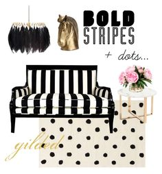 """""""bold stripes, dots... gilded"""" by thedecorroom on Polyvore featuring interior, interiors, interior design, home, home decor, interior decorating, PBteen, Zuo and Mineheart"""