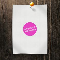 GraphicsFuel.com | Pinned Paper Note PSD Mockup