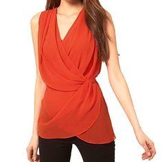 Red Chiffon V-Neck Front Wrap Design