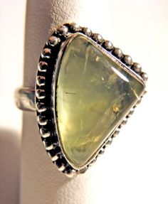 """Handmade Moss Agate and Steling Silver Ring, Size 9"""""""