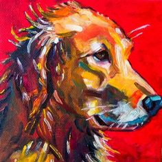 Timber, Dog Portrait 5x5 oil on canvas SOLD, original painting by artist Elizabeth Fraser | DailyPainters.com