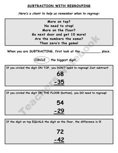 Subtraction with Regrouping Graphic Organizer product from Blair-Turner on TeachersNotebook.com