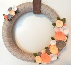 Wedding Wreath Modern Door Wreath Peach By TheBeautifulDoor