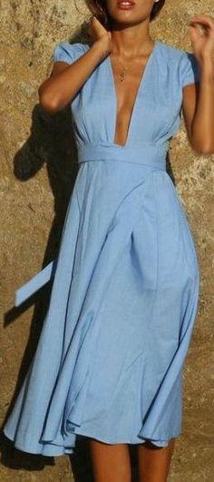 Blue is my favorite color. This blue wrap dress midi dress is my favorite wrap dress