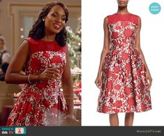 Olivia's red floral dress on Scandal.  Outfit Details: http://wornontv.net/54252/ #Scandal