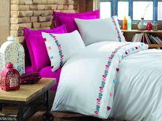 Exclusive Lenjerie de Pat Bumbac Satin Double - Valeria Fuschia Comforters, Satin, Blanket, Bed, Home, Creature Comforts, Quilts, Stream Bed, Elastic Satin