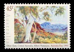 1993, depicting artwork of Albert Namatjira Aboriginal History, Aboriginal Culture, Aboriginal Artists, Terra Australis, Indigenous Art, Australian Artists, Stamp Collecting, Land Art, New Art