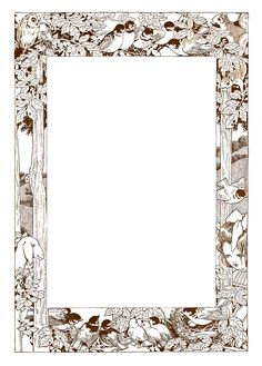 -CatnipStudioCollage- Free Vintage Clip Art - Woodland Frame with Animals and Children ~ also in green, blue, pink and orange!
