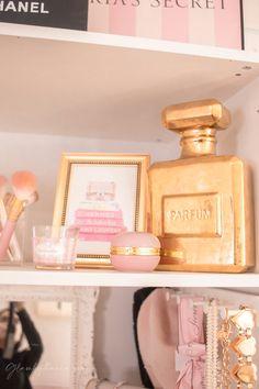 Pink Walk in Closet & Beauty Room Reveal Teen Bedroom Designs, Room Ideas Bedroom, Bed Room, Bedroom Decor, Cube Storage Shelves, Closet Storage, Closet Organization, Storage Ideas, Bathroom Makeup Storage