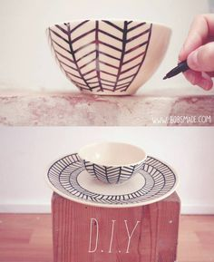 DIY Mug - Sharpie or Fabercastell multimarker + 30 minutes baking to fix the ink