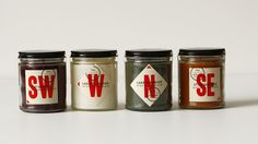 Cardinal Points Candles via The Dieline, Designed by Heads of State