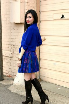 Spotted: We <3 the way blogger @Kaellyn Marrs Lucia styled this Charlotte Russe tribal print skater skirt! See more of her #ootd on her blog: leopardmartini.com