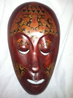 Jamaican Haitian Wall Hanging Wood Mask by AmazingLife5 on Etsy, $16.85