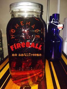 Homemade Fireball Cinnamon Whiskey I love Fireball during the holidays, but after the recall and finding out its true ingredients, I decided to make my own and gift them for Christmas! Party Drinks, Fun Drinks, Yummy Drinks, Cocktail Drinks, Mixed Drinks, Fireball Recipes, Alcohol Drink Recipes, Homemade Fireball Recipe, Homemade Liqueur Recipes