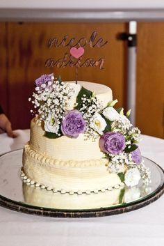 wedding cake, real flowers, my wedding cake with purple flowers
