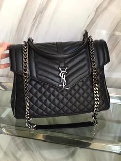 7ea8547685e13 YSL new style LARGE MONOGRAM SAINT LAURENT COLLèGE BAG BLACK handbag  8695009 size 33X25X11CM 0900WY10250 watsapp +8615503787453