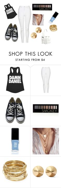 """""""damn daniel"""" by abbygros ❤ liked on Polyvore featuring beauty, Topshop, Converse, Forever 21, JINsoon, ABS by Allen Schwartz, Eddie Borgo and Mansur Gavriel"""