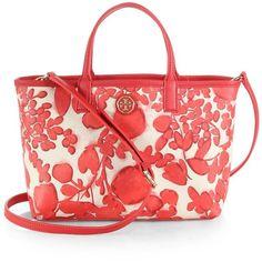 Tory Burch Kerrington Floral Crossbody Shopper ($158) ❤ liked on Polyvore featuring bags, handbags, purses, apparel & accessories, crossbody handbags, handbags purses, man bag, tory burch crossbody and purse crossbody
