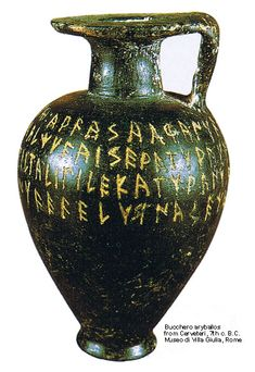 Bucchero aryballos BC) from Cerveteri - Villa Giulia - Translation of Etrus. - Bucchero aryballos BC) from Cerveteri – Villa Giulia – Translation of Etruscan short inscr - Ancient Rome, Ancient Greece, Ancient History, Etruscan Language, Art Antique, Minoan, Greek Art, Prehistory, Ufo