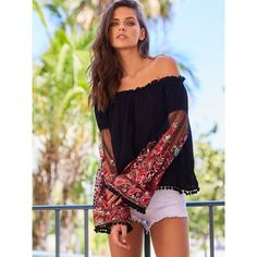 Black Ruffle Off The Shoulder Embroidered Bell Sleeve Top ($14) ❤ liked on Polyvore featuring tops, black, flutter-sleeve top, frill off the shoulder top, embroidered off the shoulder top, frill top and ruffle top