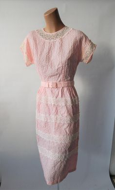 Pretty in Pink 1950s Cotton Pintuck Lace Trimmed by VintageZipper