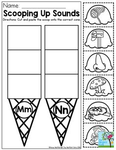 Scooping Up Sounds- Cut and paste the pictures to the correct letter. Great summer activity for preschoolers to begin practicing early phonics skills with the letters of the alphabet! Found in the Summer Review NO PREP Packet for Preschool.