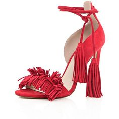River Island Red leather tassel front heels (£32) ❤ liked on Polyvore featuring shoes, pumps, red, sale, red high heel shoes, high heel stilettos, red stiletto pumps, high heeled footwear and lace up stilettos