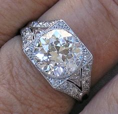 Vintage H-I Diamond in all Original Antique Platinum Mounting Ring, . - Vintage H-I Diamond in all Original Antique Platinum Mounting Ring, Appraised at - Art Deco Jewelry, I Love Jewelry, Fine Jewelry, Vintage Diamond Rings, Diamond Jewelry, Diamond Earrings, Vintage Rings, Or Antique, Antique Jewelry