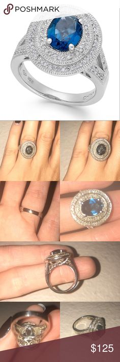 Blue Topaz & Diamond Sterling Silver Ring Purchased online from Macy's (screen shot of order included) in February 2016. Ring has NEVER BEEN WORN!! It's basically in perfect retail condition. I do not have tags. This ring was originally a size 7 and was sized down to 5.25. In the photos that I took the color of the topaz looks a little dark, dull and cloudy; it's just the flash reflected on it. The vibrancy of the stone in first photo which is the stock photo from the Macy's website is a…