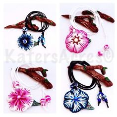 Polymer Clay Flower Necklaces by KatersAcres