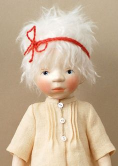 "Girl with Platinum Hair H319 by Elisabeth Pongratz  wood 14"" tall  $2,700"