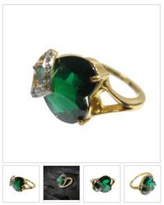 18 kt #Gold #jewellery real #diamond antique heart shape ring. Know more detail visit @ https://goo.gl/wHWJ4n #EmeraldStone #USA