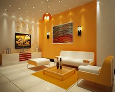 Pops of yellow add so much personality to this contemporary living room.