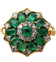 A GEORGIAN EMERALD AND DIAMOND CLUSTER CLASP  A Georgian emerald and diamond cluster clasp, the central square step-cut emerald grain set within a border of eleven rose-cut diamonds, silver collet set to a row of ten rectangular step-cut emeralds each alternately set with a rose-cut diamond highlight, to a fluted closed yellow gold mount, with hidden snap, gross weight 6.7 grams.