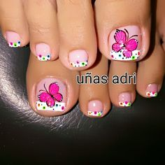 Uña Toenail Art Designs, Pedicure Designs, Pedicure Nail Art, Toe Nail Art, Pretty Toe Nails, Cute Toe Nails, Love Nails, French Toe Nails, Butterfly Nail Art