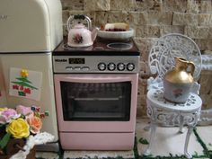 Dollhouse Miniature Shabby Pink Genuine Miele Stove with Working Lights and Sounds SO CUTE on Etsy, $95.00