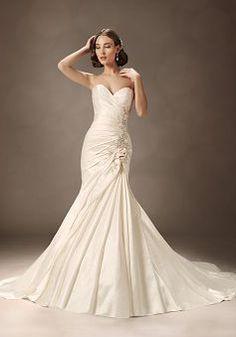 Simple Fit N Flare Taffeta Floor Length Sweetheart Dropped Waist Bridal Gown - 1300103677B - US$249.99 - BellasDress