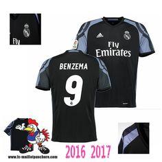 Acheter Nouveau Maillot De Foot Real Madrid Noir (BENZEMA 9) Third 2016-2017
