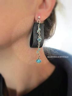 Silver Drop Earrings Swarovski Blue Leather by MARTINELICRYSTALS