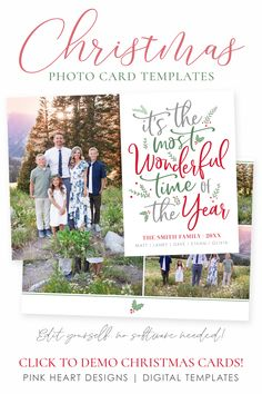 Spread some holiday cheer this season with a Christmas Card Template. Your beautiful family photos will look perfect in this 5x7 Christmas card.   Christmas Card Template | Photo Christmas Cards | Christmas Card Template 5x7  | Editable Christmas Card | Holiday Card Templates  #photochristmasccards #christmascards #christmastemplate #christmascard #christmascardtemplates, #photochristmascard #holidaycard #holidayphotocard, #christmasprintable Christmas Card Template, Printable Christmas Cards, Christmas Photo Cards, Holiday Cards, Heart Designs, Beautiful Family, Family Pictures, Card Templates, Wonderful Time