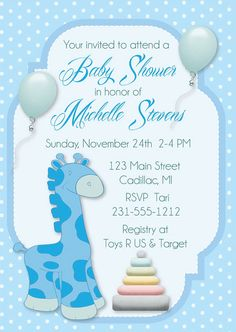 Giraffe Baby Shower Invitation, Neutral Gender Baby Shower Invite