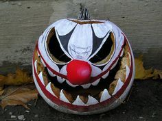 Evil Clown Pumpkin Rot Stage 2 by PedestrianXArt, via Flickr Great Halloween party ideas http://halloween-party.fastblogger.uk/