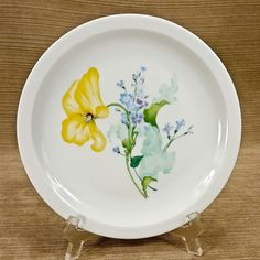 """Haviland Limoges France My Garden Pebble Yellow Pansy Flower 7.5"""" Salad Plate"""