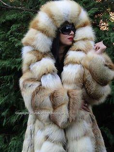 New royal saga golden island fox fur long swing coat   massive hood fuchs xl d1891cd8336