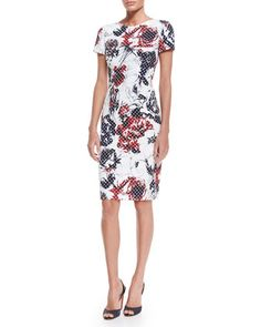 Rose+&+Dot-Print+Sheath+Dress,+Red/Navy/White+by+Carolina+Herrera+at+Neiman+Marcus.
